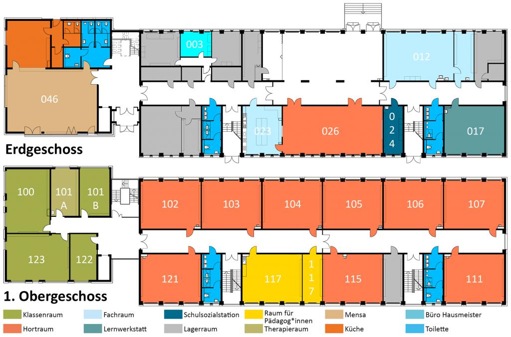 Grundrisse des Erdgeschosses und der ersten Etage