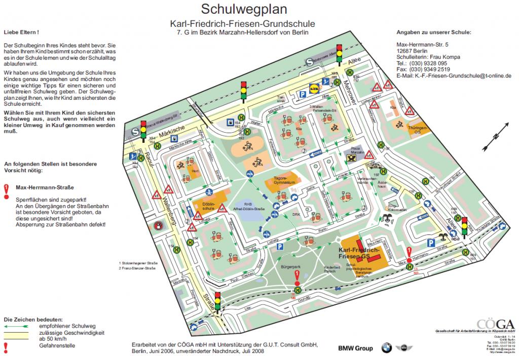 Schulwegplan der Karl-Friedrich-Friesen-Grundschule (Stand Juli 2008)