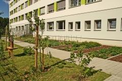 Schulgarten hinter der Schule
